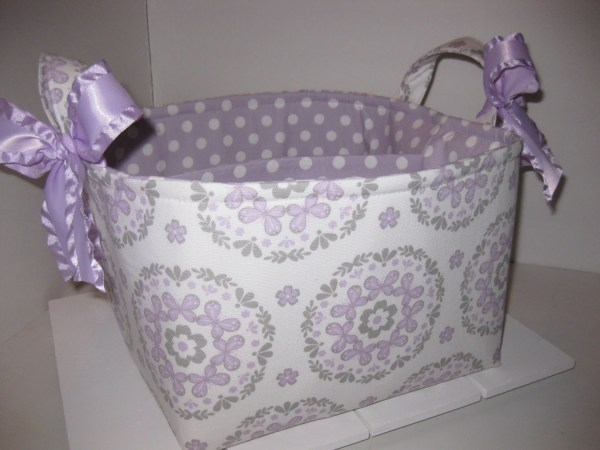 Large Diaper Caddy Organizer Bin Grey Purple White Polka