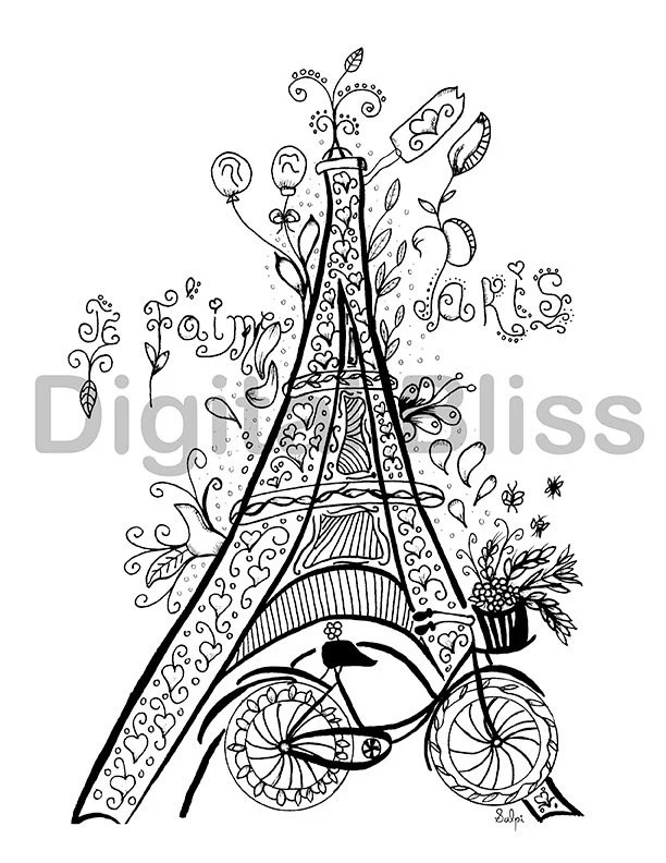 Whimsical Eiffel Tower Adult Coloring Page Je t'aime