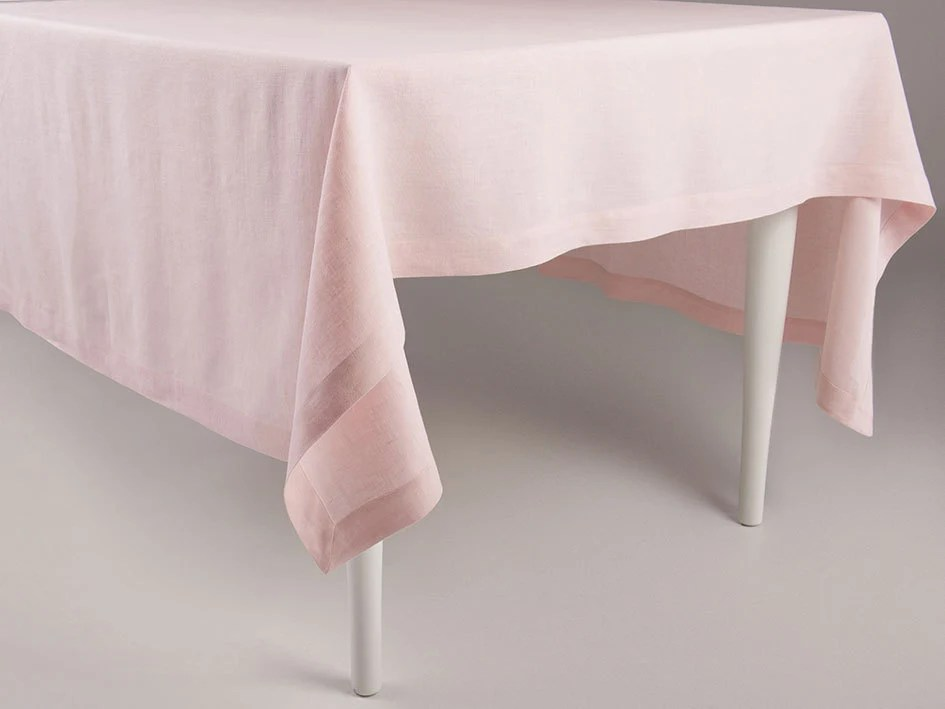 Dusty rose linen tablecloth Light pink or ballet slipper color