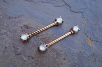White Opal Rose Gold Nipple Ring Nipple Piercing Nipple