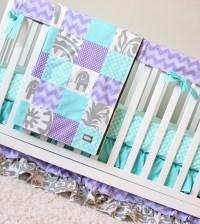 Purple And Aqua Crib Bedding Purple Chevron Grey and Aqua