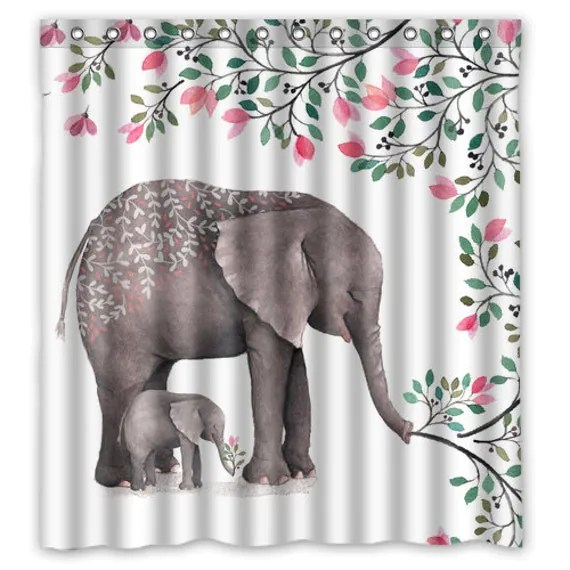 Watercolor Mother and Baby Elephant Shower Curtain Elephant