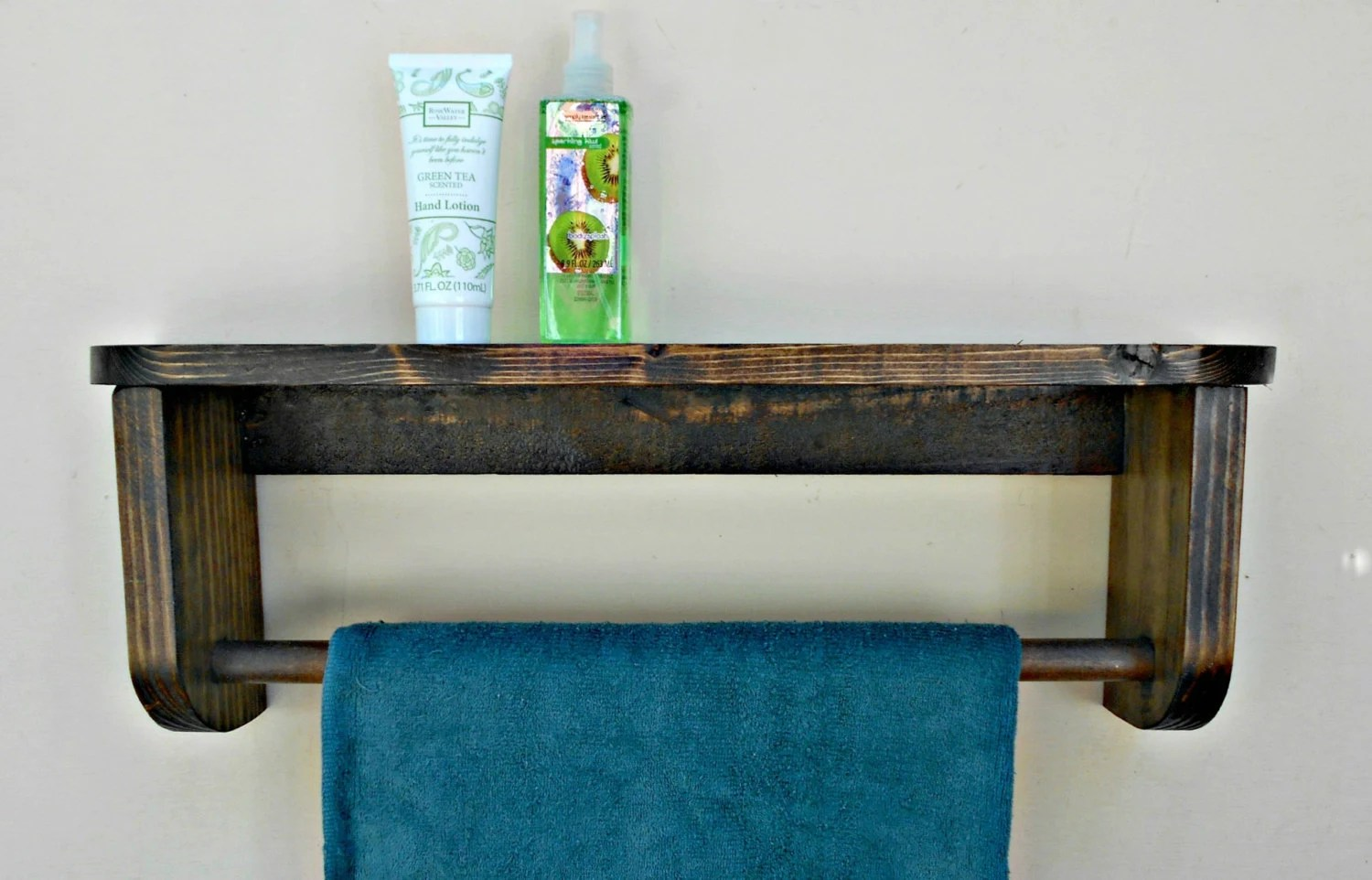 Bathtowel Rack With Shelf Wood Towel Holder By