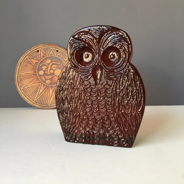 Honey Amber Blenko Glass Owl Bookend Style 6813 7 High
