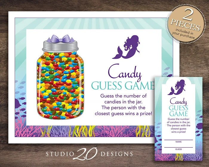 Instant Download Little Mermaid Candy Guessing Game Purple