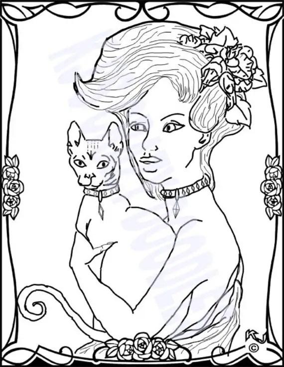 girl  cat pinup vargasstyle coloringkjscrazydoodles