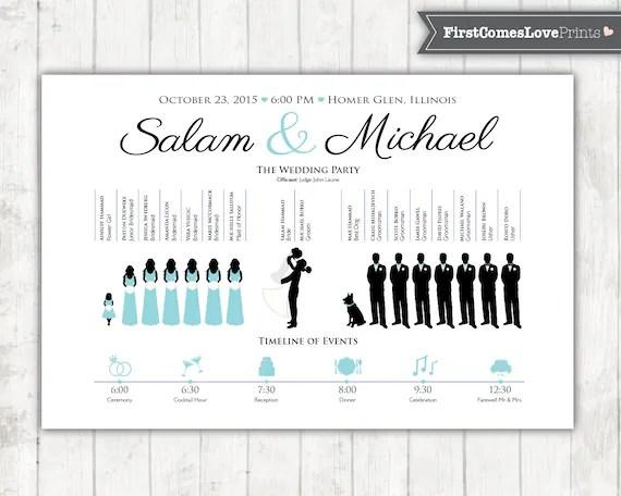 Silhouette Wedding Program with Reception Timeline Display