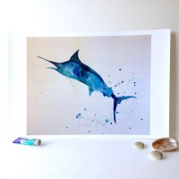 Blue Marlin Wall Art. Sportfishing Art for Cabin. Marlin