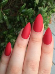 fake nails matte red