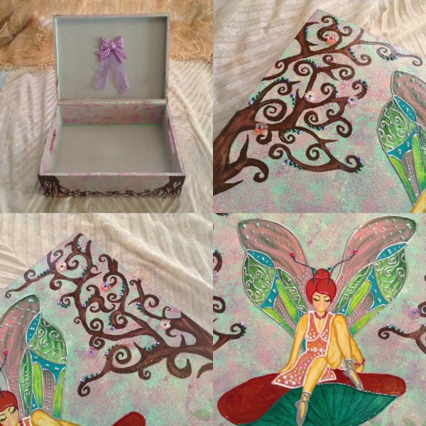 Fairy Painting Keepsake Box Wooden Trunk Flower