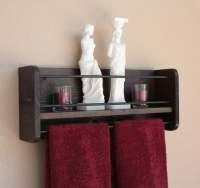Rustic Wood Wall Shelf & Towel Rack Bathroom Towel Shelf