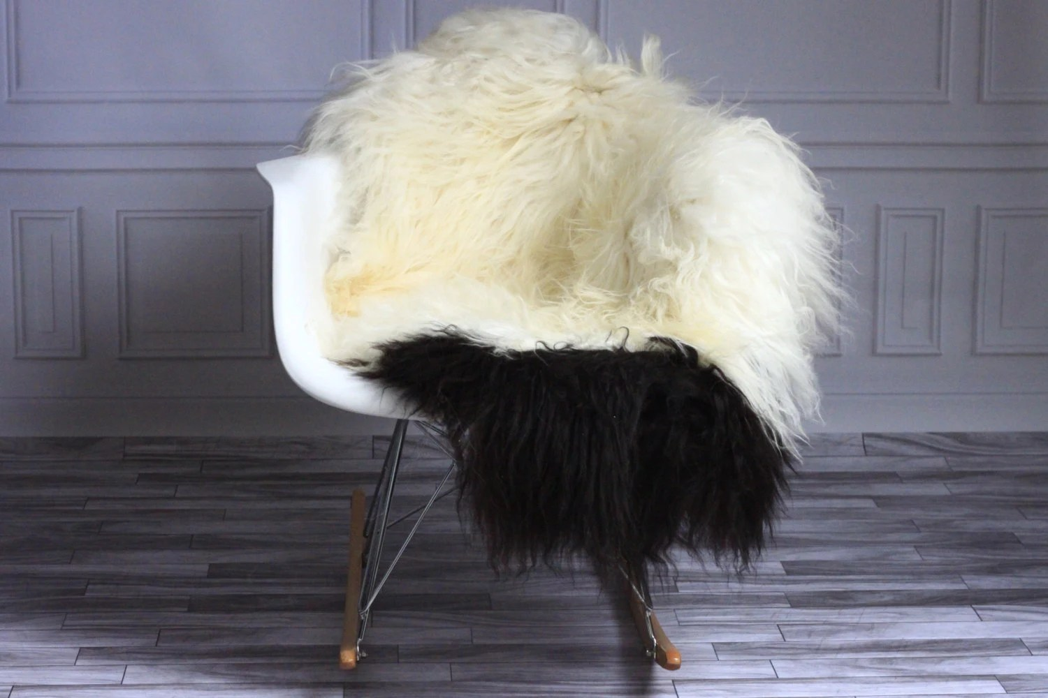 sheepskin rug on chair leather office no wheels sale icelandic real