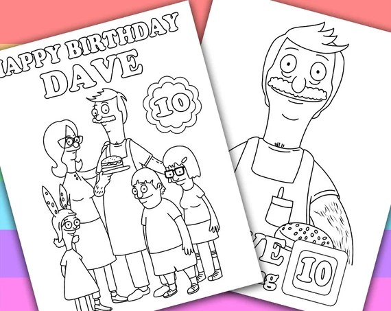 2 personalized coloring pages bob's burgerskimzillu on