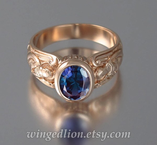 Guardian Angels 14k Rose Gold Ring With Alexandrite Sizes