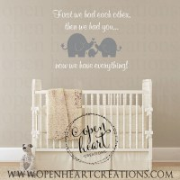 Elephant Wall Decal for Baby Nursery and First We Had Each