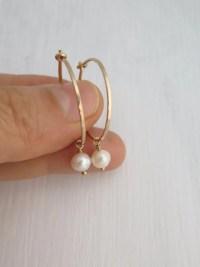 Thin hoop earrings Small gold hoop earrings Pearl earrings