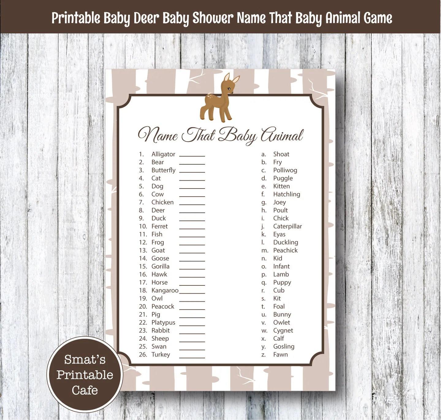 Baby Deer Baby Shower Baby Animal Name Game Quiz Printable