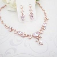Wedding jewelry Set Rose Gold Bridal necklace set Rose Gold