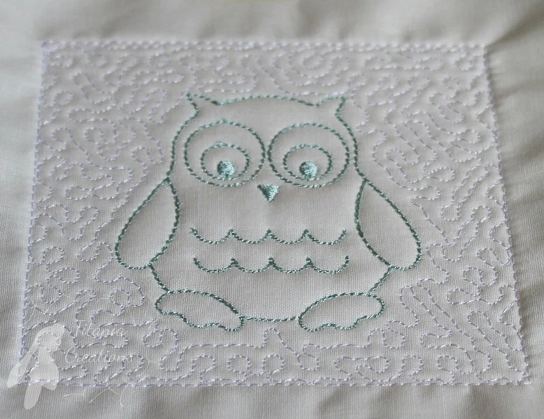 Trapunto Owl Quilt Block Machine Embroidery Design Pattern 4x4