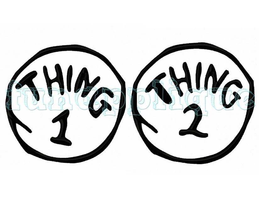 Thing 1 and Thing 2 Applique designs for Machine Embroidery