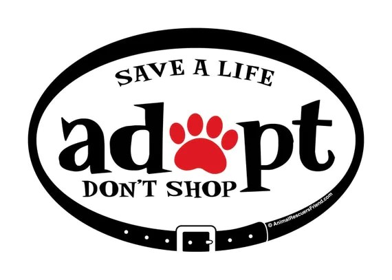 Adopt Don't Shop Euro Pet Decal 4x6 Oval Removable