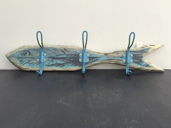 Wooden Reclaimed Fish Style Coat Rack