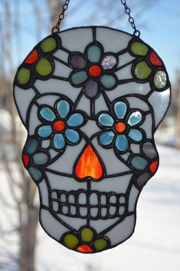Day Of Dead Sugar Skull Stained Glass Sun Catcher Unique