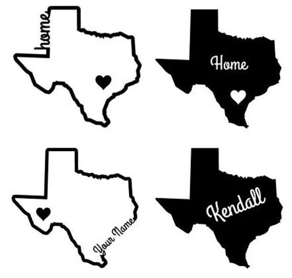 Texas Name Home Custom Car Window Decal by