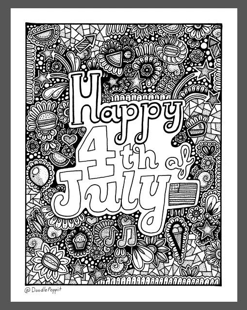 Happy 4th Of July Coloring Page Coloring Book Page Printable