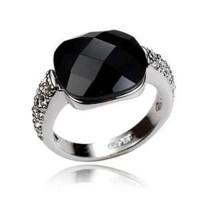Women's Black Aqeeq Ring White Gold Ring Aqeeq by ShiaShopping