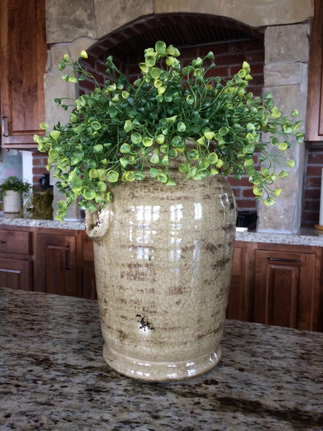 Rustic Large Crock Greenery Arrangement Home Decor Fake Plant