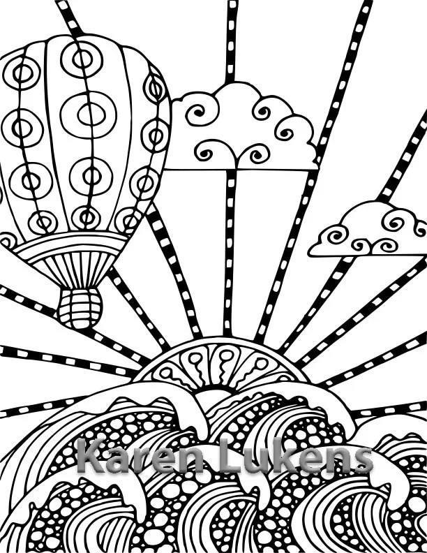 Balloon Voyage 1 Adult Coloring Book Page Printable Instant
