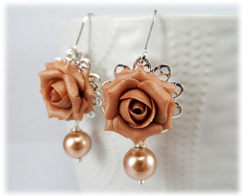 Dusty Rose Pearl Earrings Rose Gold Pearl Jewelry