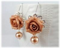 Dusty Rose Pearl Earrings Rose Gold Pearl Jewelry