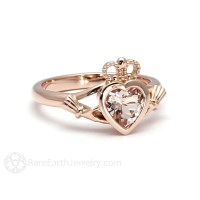 Claddagh Ring Morganite Engagement Ring Irish Promise Ring 14K