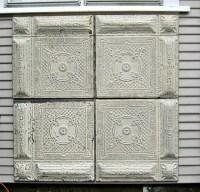 SET FRAMED vintage ceiling tin tiles. Large Wall Decor.