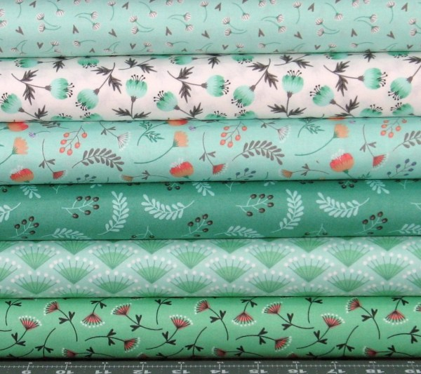 Green Peach Orange And White Cotton Quilt Fabric Fabric406