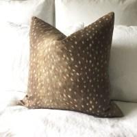 Deer Pillow Cover Deer Print Pillow Antelope Pillow Tan