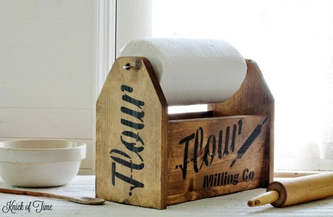 Farmhouse Wooden Tote With Paper Towel Holder Handmade