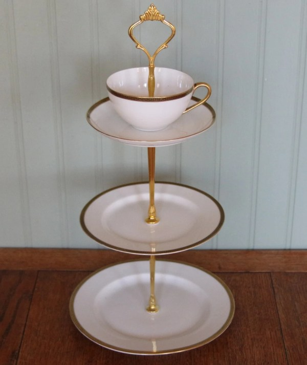 Vintage 3 Tier Teacup And Saucer Top Cake Stand
