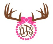 deer antlers with bow and pearls