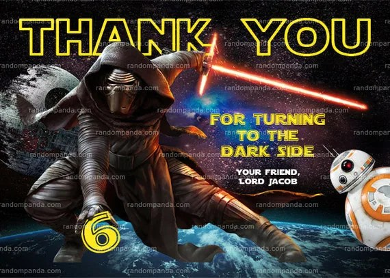 Star Wars Thank You Card Kylo Ren Party Force Awakens