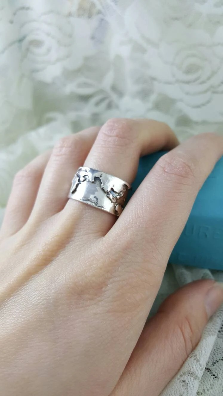 World Map Wide Band Ring In Sterling Silver World By XanneFran