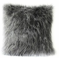 Grey Fur Pillow Cover. Mongolian Faux Grey Fur Decorative