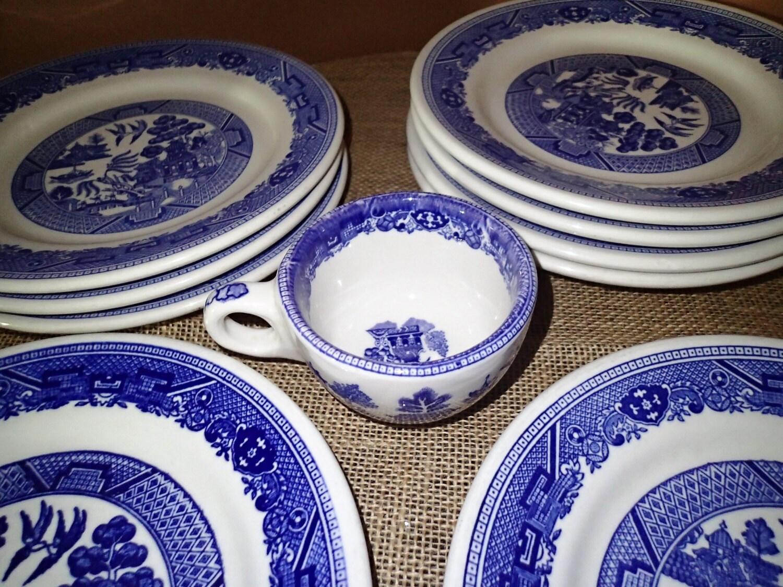 Blue Willow Buffalo China Restaurant Ware set of 9 plates