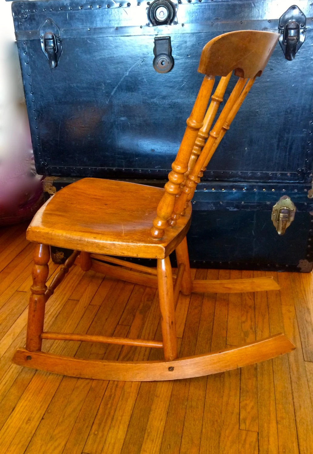 Small Rocking Chair Antique Armless Rocker Wooden Rocking Chair Sewing Chair
