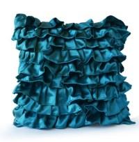 Items similar to Teal Satin Ruffle Pillow - Decorative ...