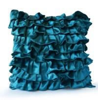 Teal Satin Ruffle Pillow Decorative pillow Teal Ruffle throw
