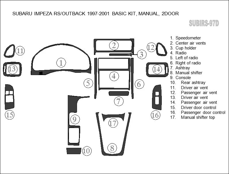 Subaru Impreza RS Outback 1997 1998 1999 2000 2001 Coupe