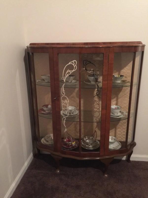 Vintagr Walnut Curio Cabinet English 1940s Vintage